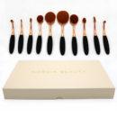 Nordik Beauty Rose Gold Oval Makeup Brush Set - 10 piece